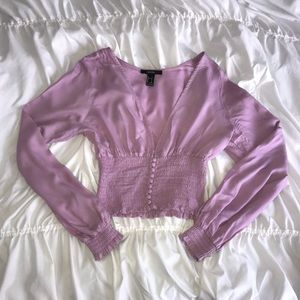 Forever 21 lilac purple long sleeve blouse